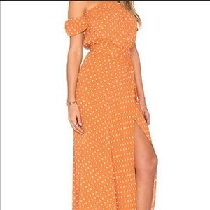 Flynn Skye Bella Off the Shoulder Polka Dot Dress